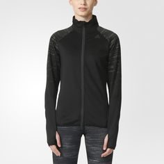 An essential training layer, this women's track jacket has an ergonomic design that helps it stay in place when you stretch and lift your arms. Made with moisture-wicking climalite® that keeps you dry, it features ventilating mesh panels on the collar and under the arms for added comfort.