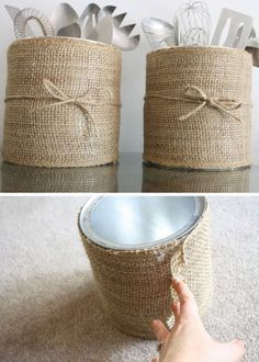 Burlap Coffee Canister Click Pic for 20 DIY Kitchen Storage Ideas for Small Spaces Easy Kitchen Organization Ideas Burlap Crafts, Diy And Crafts, Burlap Projects, Recycled Crafts, Burlap Decorations, Diy Casa, Diy Kitchen Storage, Decorating Kitchen, Kitchen Craft