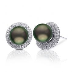 """Crown Select Tahitian pearl earrings set in 18K white gold with 186 VS1 quality G-H color diamonds for a total carat weight of .71. The Tahitian pearls are our top """"Crown"""" quality and measure 8-9mm."""