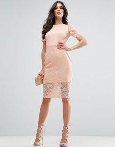 ASOS Lace Scallop T-Shirt Midi Bodycon Dress