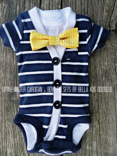 Little Boys Cardigan Set - Short Sleeve Navy/ White Bow Tie Set - Striped Cardigan- Little Mister Onesie Set- Great for Photography Props. $40.00, via Etsy.