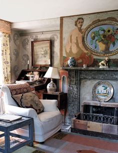 Interior of Charleston, painted by the Bloomsbury group members Vanessa Bell and Duncan Grant from our 2010 feature on artist Cressida Bell. Read it here: http://www.houseandgarden.co.uk/lifestyle/2013/october/lifestyle-cressida-bell