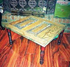 Antique door turned table