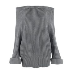 Women Slash Neck Knitted Pullovers Sweater