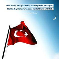 Hakkıdır, hür yaşamış, bayrağımın hürriyet, Hakkıdır, Hakk'a tapan milletimin istiklâl! Mehmet Akif Ersoy
