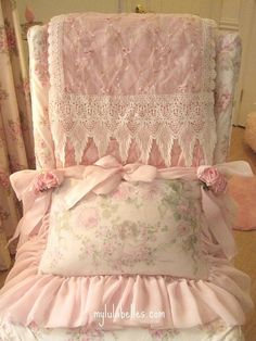 .Beautiful pink and lace colored throw and pillow