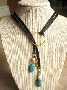 Statement Adjustable Boho Brown Deerskin Lariat Necklace Baroque Fresh Water Pearls, Turquoise, Crystals, 14K Gold Vermeil   by LeatherDiva, $44.00