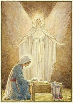 Margaret Tarrant - 'The Guardian' - Mary with Jesus in crib and Angel behind. Blessed Mother Mary, Divine Mother, Blessed Virgin Mary, Christian Images, Christian Art, Religious Paintings, Religious Art, Hail Holy Queen, Images Of Mary