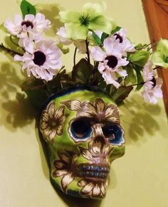 Pretty Flower Designed Handmade Sugar Skull Wall by LeavesofRed