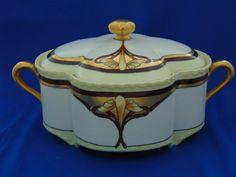 Haviland Limoges Arts & Crafts Covered Footed Serving Dish/Biscuit Jar (c.1894-1931)
