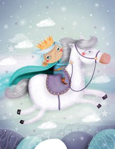 nursery room wall deco, children illustration, art print, original art, digital - Prince on the white horse. €20.00, via Etsy.