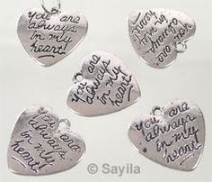 Metal pendant/charm heart 'you are always in my heart'