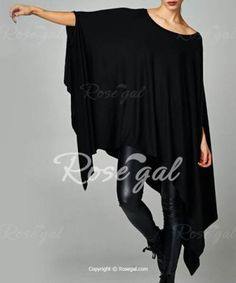 Stylish Solid Color 1/2 Batwing Sleeve Asymmetric Loose Dress For Women