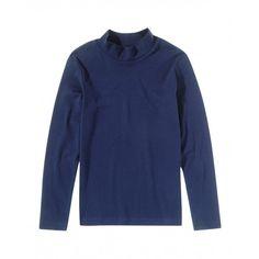 T-shirt maniche lunghe, in cotone colorato, collo alto con finitura a costina.3AY1C2454 BLUE