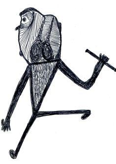 Eine Kugelschreiberzeichnung von Ernst Kolb (Über 150 Beispiele finden Sie auf der Seite www.aussenseiterkusnt.ch)