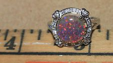 fire opal Cz ring gemstone silver jewelry Sz 7 modern cocktail engagement B59