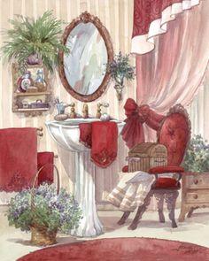 Bathroom Decoupage Vintage, Decoupage Paper, Bath Art, Bathroom Pictures, Bath Pictures, Bathroom Prints, Bathroom Art, Bathroom Colors, Victorian Bathroom