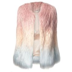AMERICAN RETRO marjo coat (4.180 ARS) ❤ liked on Polyvore featuring outerwear, coats, jackets, tops, vests, ombre coat, american retro, pink coat and long sleeve coat