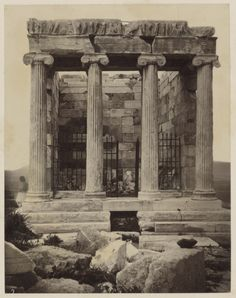 The eastern facade of the Temple of Athena Nike on the Acropolis in Athens, Greece, 1870, photographed by William J. Stillman. (Getty Museum)