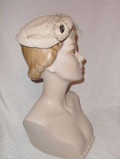 1950s Vintage Beige Velour Cocktail Hat with by MyVintageHatShop