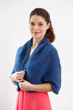 This easy to knit shrug is great go-to item for when you feel a slight chilly.