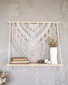 Excited to share this item from my shop: Large Macrame hanging shelf, crochet rope floating shelf Boho rustic decorative wall shelf Wooden plant shelf Wall organizers books storage Wall Hanging Shelves, Macrame Wall Hanging Patterns, Wall Shelf Decor, Large Macrame Wall Hanging, Floating Shelves, Wall Hangings, Macrame Wall Hanger, Diy Crochet Wall Hanging, Crochet Wall Art