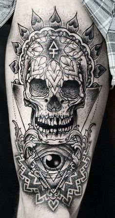 Caveira Mexicana Tattoo |  Preto e Cinza Pontilhismo Perna masculina