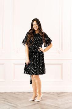 Polka Dot Day Dreams - Pink Peonies by Rach Parcell Dot Day, Polka Dot Tie, Dressy Outfits, Tie Dress, Black Pumps, Cashmere, Short Sleeve Dresses, Feminine, Dreams