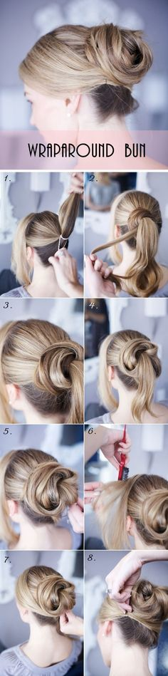 DIY Hairstyle | Simple Wraparound Bun | Step-By-Step Tutorial (Visit Website for Instructions)