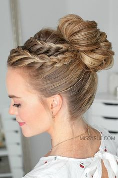 Flechtfrisuren Double Lace Braid High Bun hairstyle for Jana It's Spring And Time To Ga High Bun Hairstyles, Box Braids Hairstyles, Wedding Hairstyles, Black Hairstyles, Updos With Braids, Medium Hairstyles, Dance Hairstyles, School Hairstyles, New Braided Hairstyles