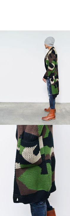 Edgy Long Chunky Wool Camouflage-Cardigan 102 - GUYLOOK