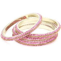 Chamak by priya kakkar 4 Crystal Pink Bangles with Gold Ball Chain... ($70) ❤ liked on Polyvore featuring jewelry, bracelets, accessories, pulseras, pink, gold bracelet bangle, crystal charms, crystal bangle, bracelets & bangles and yellow gold charms