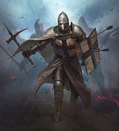 Fantasy Concept Art, Fantasy Armor, Fantasy Character Design, Dark Fantasy Art, Character Art, Medieval Knight, Medieval Armor, Medieval Fantasy, Armadura Medieval