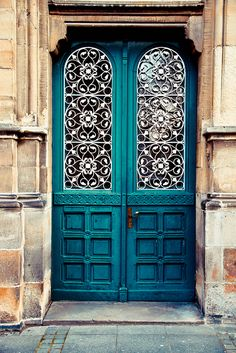 #turquoise #door with beautiful metalwork - Photo by Tanja Heckert, found in Münster, Germany
