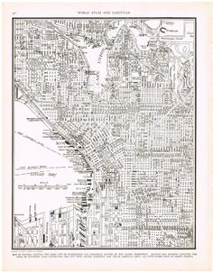 Love the rows upon rows of hand drawn buildings.  Darling.  Antique map of Seattle.  From KnickofTime, via Etsy.