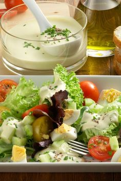 Bunter Salat mit Käse-Dressing