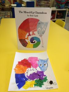 """We read """"The Mixed Up Chameleon"""" by Eric Carle.  This is a great book that teaches the lesson that it is ok to just be yourself.  The chameleon is not happy and he wants to be like other animals.  He gets very mixed up and finds out in the end that being himself is beautiful."""