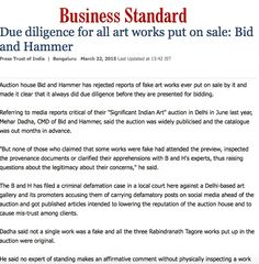 Due diligence for all art works put on sale: Bid & Hammer, BUSINESS STANDARD, 22ND MARCH 2015