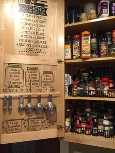 Spice rack and measuring cup cabinet organization. I was so tired of digging my measuring cups and spoons out of the drawer so I purchased the labels and conversions on Amazon and added them to the door of my spice cabinet.