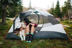 stealing kisses. Photo: @abigaildemyanek #camping #photography #colorado #siberianhusky #husky #outdoors #happysocks