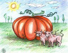 Az Ökrök a tökkel Farm Animals, Pumpkin, Painting, Fairy, School, Buttercup Squash, Pumpkins, Painting Art, Paintings