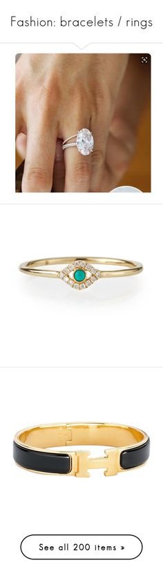 """""""Fashion: bracelets / rings"""" by katiasitems on Polyvore featuring jewelry, rings, jewelry rings, yellow gold, bezel setting diamond ring, green turquoise ring, 14k turquoise ring, bezel set ring, evil eye jewelry and bracelets"""