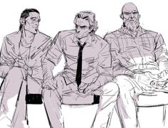 """The Wolf Among Us, Ha! Gren looks likes he's giving Bigby a flirty smirk while Woody is thinking """"Why am I even here?"""" XD"""