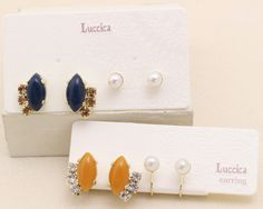 Luccica 候爵佳人橙紅珍珠四枚入組合 耳環 (包平郵有夾式)