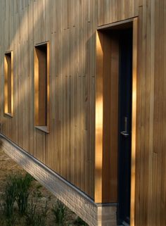 Wood Cladding Exterior, Larch Cladding, Wood Facade, Wood Architecture, Architecture Details, Garage Extension, Window Reveal, Modern Barn House, Wood Frame Construction