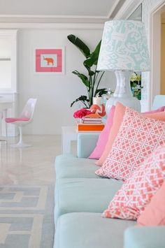 House of Turquoise sofa with pillows. one of my favorite color combinations of all time. so cheery. home decor and interior decorating ideas. My Living Room, Home And Living, Living Spaces, Living Area, Coastal Living, House Of Turquoise, Decoration Inspiration, Interior Inspiration, Color Inspiration