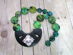 Yellow Turquoise Necklace with a Black & Silver Pendant - T33 by daksdesigns on Etsy