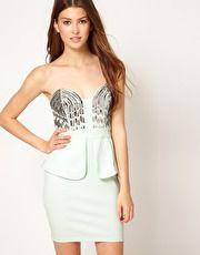 Lipsy Sequin Bust Peplum Dress