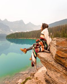 Image may contain: one or more people, mountain, sky, outdoor, nature and water Adventure Photography, Autumn Photography, Girl Photography, Travel Photography, Banff, Oh The Places You'll Go, Places To Travel, Adventure Aesthetic, Aesthetic Images
