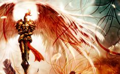 Wallpaper of the League of Legends champion Kayle! This is several normal images made into a wallpaper that i spiced up in photoshop. Fantasy Art Angels, Fantasy Male, League Of Legends, Background Images Wallpapers, Wallpaper Backgrounds, League Of Angels, Wings Wallpaper, Angel Warrior, Art Prints For Home